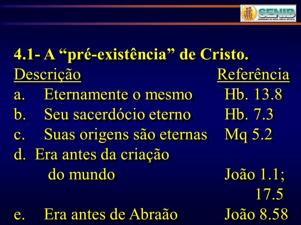 4.1- A pré-existência de Cristo.
