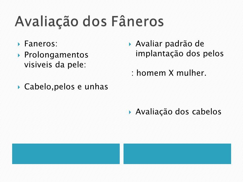 Avaliação dos Fâneros Faneros: Prolongamentos visiveis da pele: