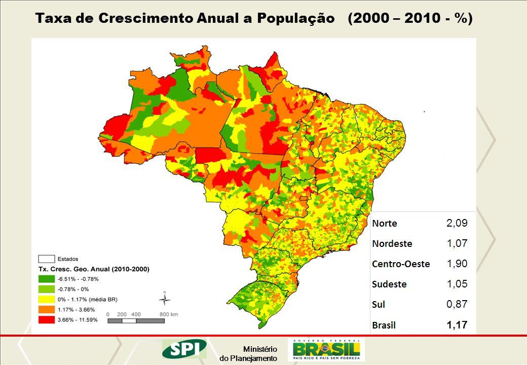 Taxa de Crescimento Anual a População (2000 – 2010 - %)