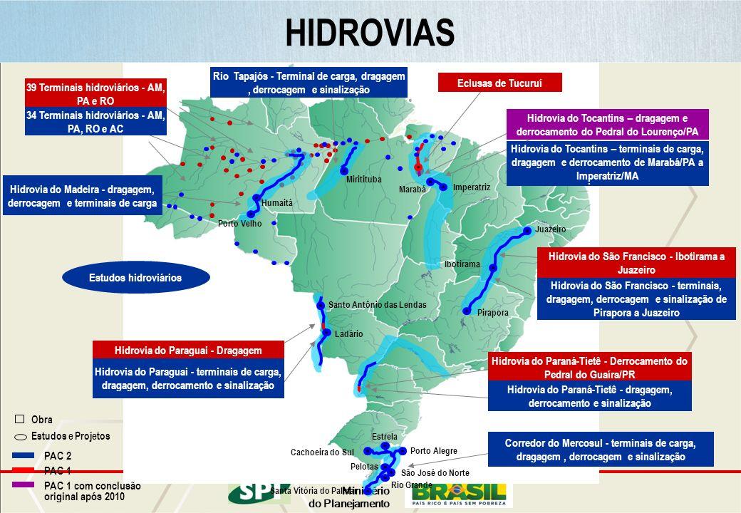 HIDROVIAS Rio Tapajós - Terminal de carga, dragagem , derrocagem e sinalização. Eclusas de Tucuruí.