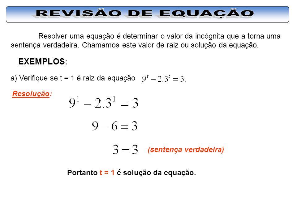 REVISÃO DE EQUAÇÃO EXEMPLOS: