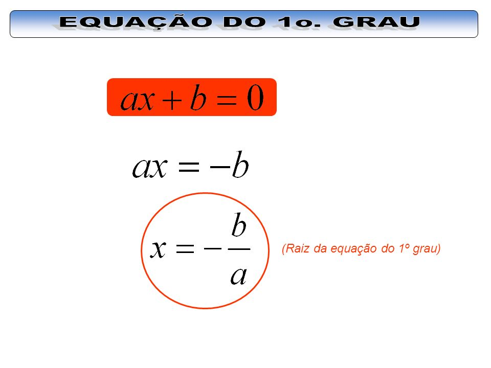 EQUAÇÃO DO 1o. GRAU (Raiz da equação do 1º grau)