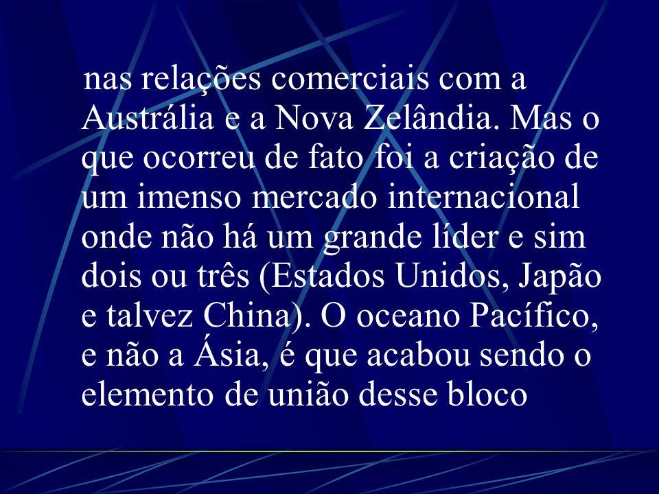 nas relações comerciais com a Austrália e a Nova Zelândia