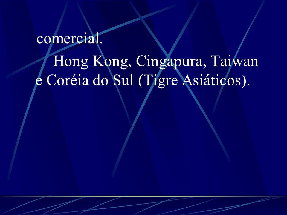 comercial. Hong Kong, Cingapura, Taiwan e Coréia do Sul (Tigre Asiáticos).