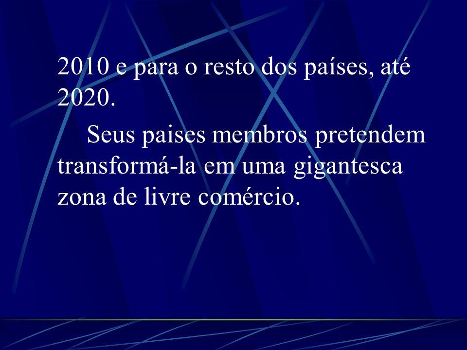2010 e para o resto dos países, até 2020.
