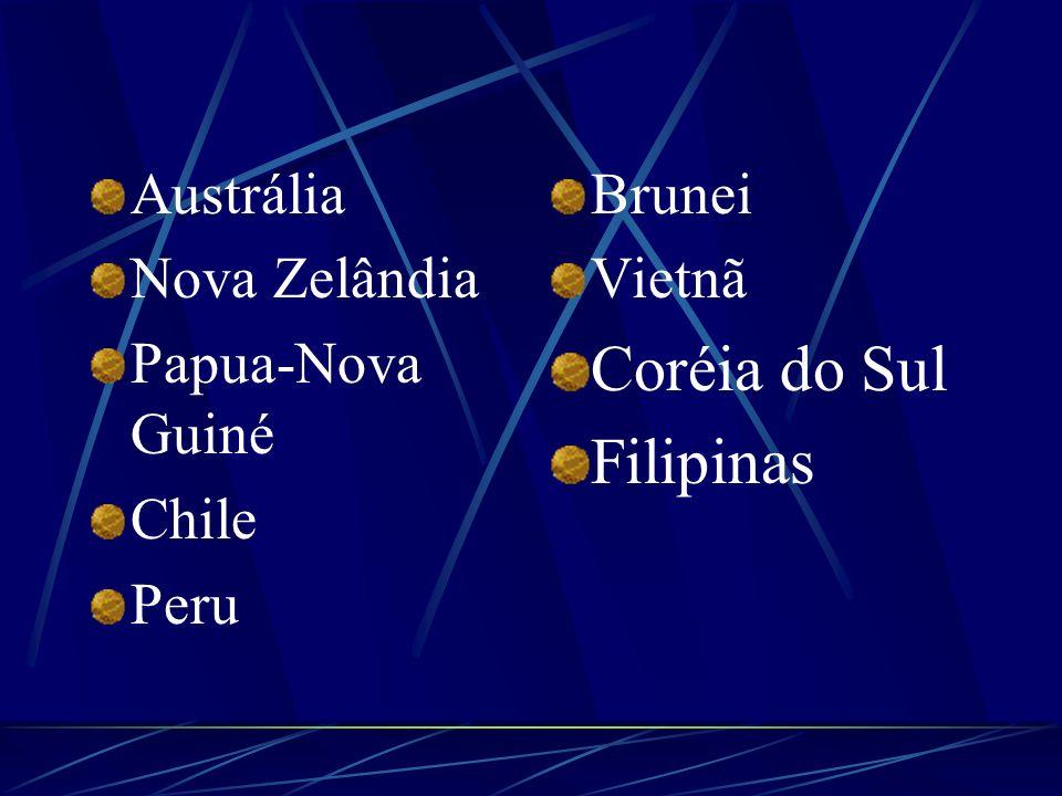 Coréia do Sul Filipinas Austrália Nova Zelândia Papua-Nova Guiné Chile