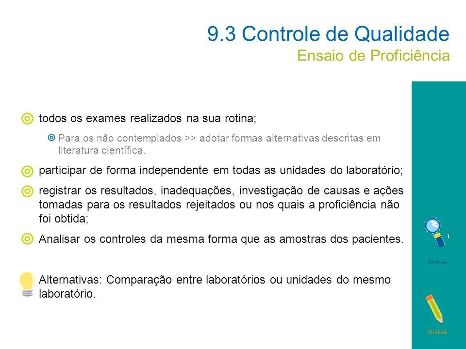 9.3 Controle de Qualidade Ensaio de Proficiência