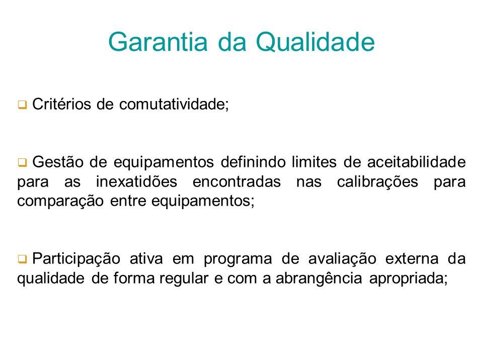 Garantia da Qualidade Critérios de comutatividade;