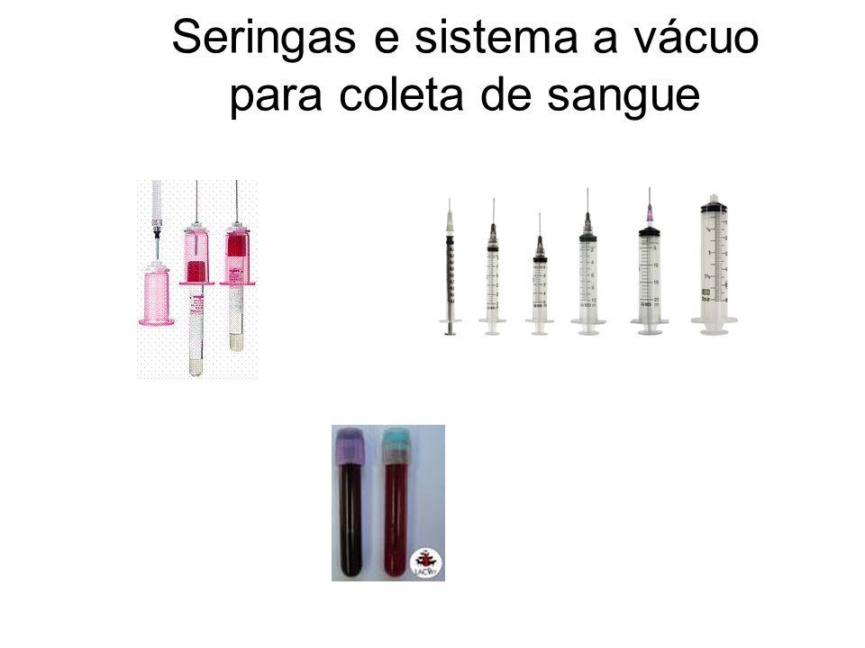 Seringas e sistema a vácuo para coleta de sangue