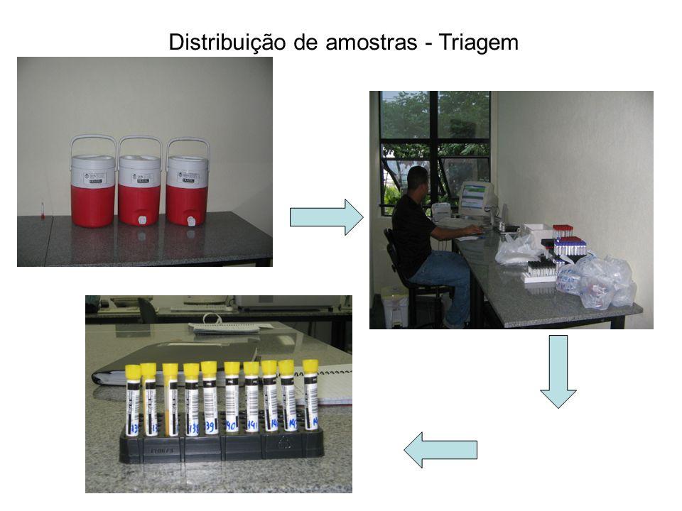 Distribuição de amostras - Triagem