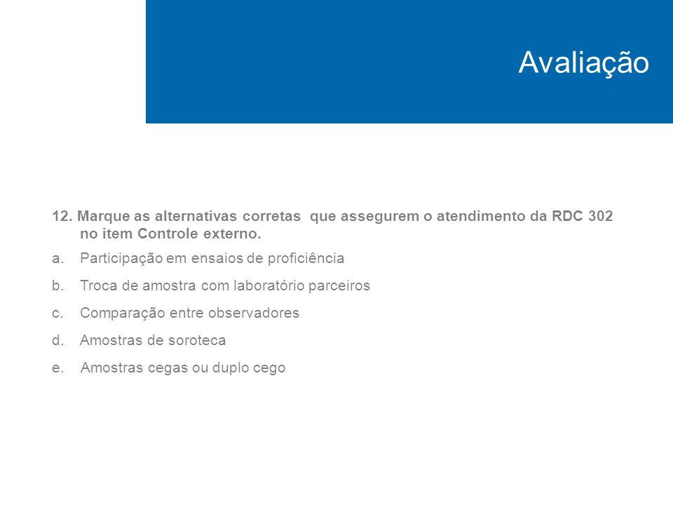 Avaliação12. Marque as alternativas corretas que assegurem o atendimento da RDC 302 no item Controle externo.