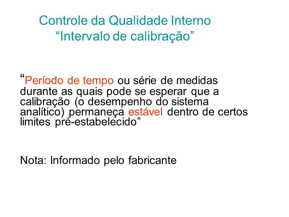 Controle da Qualidade Interno Intervalo de calibração