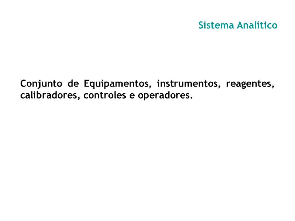 Sistema AnalíticoConjunto de Equipamentos, instrumentos, reagentes, calibradores, controles e operadores.