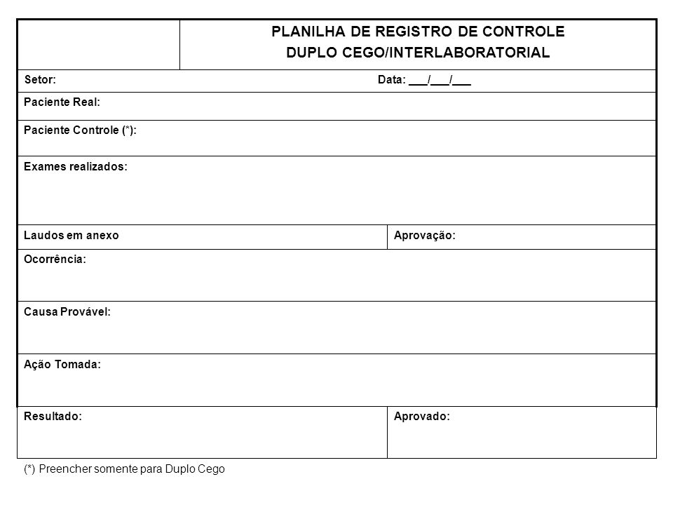 PLANILHA DE REGISTRO DE CONTROLE DUPLO CEGO/INTERLABORATORIAL