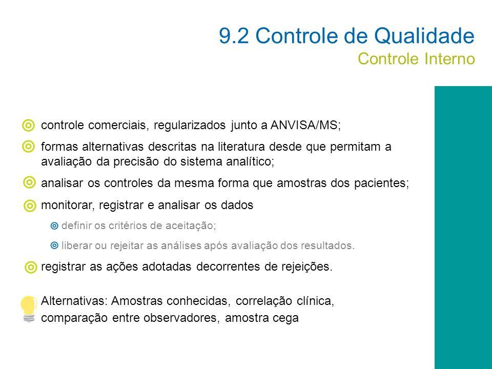 9.2 Controle de Qualidade Controle Interno
