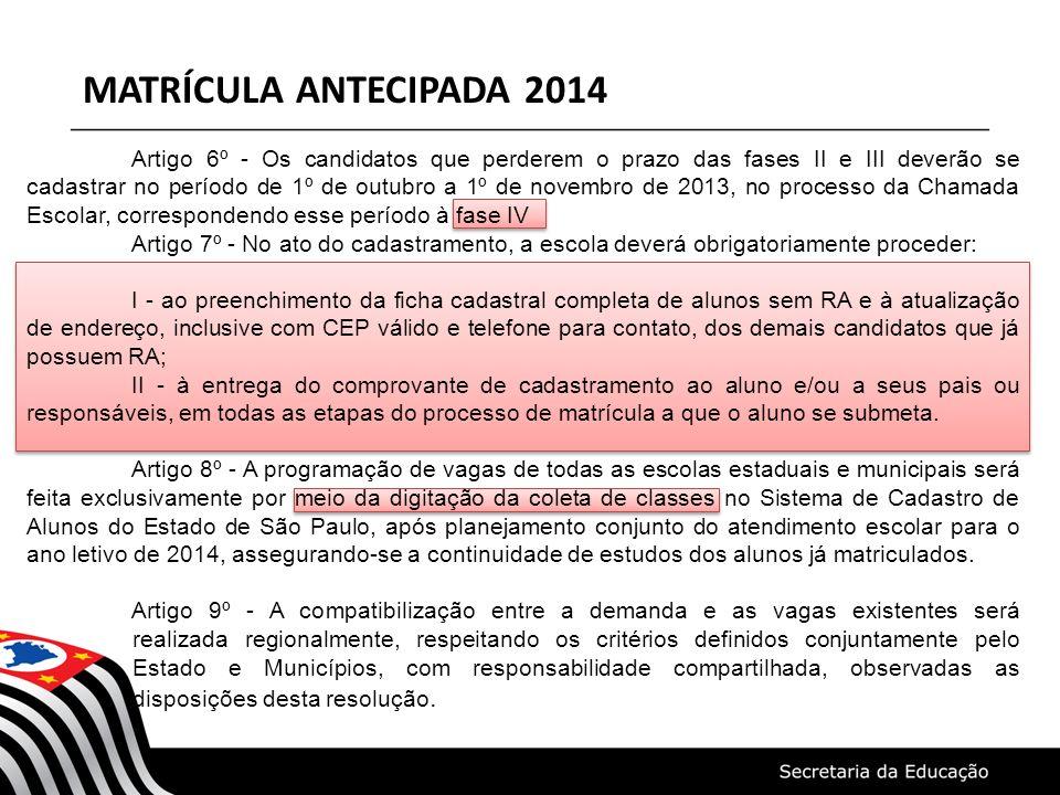 MATRÍCULA ANTECIPADA 2014