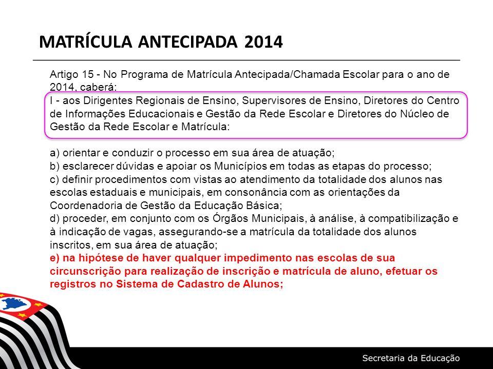 MATRÍCULA ANTECIPADA 2014 Artigo 15 - No Programa de Matrícula Antecipada/Chamada Escolar para o ano de 2014, caberá: