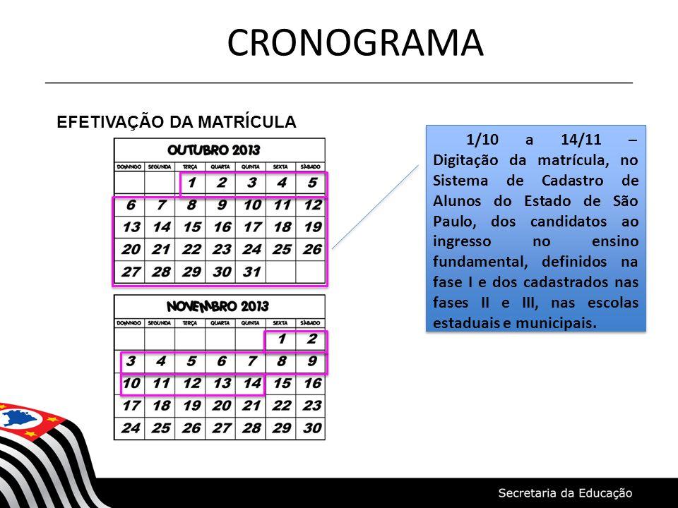 CRONOGRAMA EFETIVAÇÃO DA MATRÍCULA