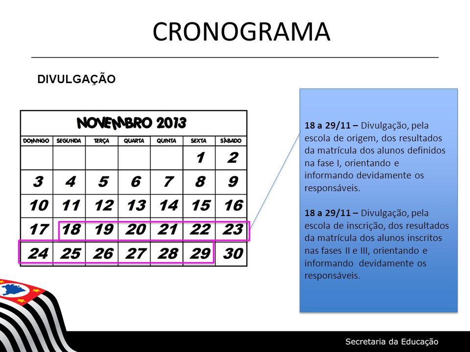 CRONOGRAMA DIVULGAÇÃO