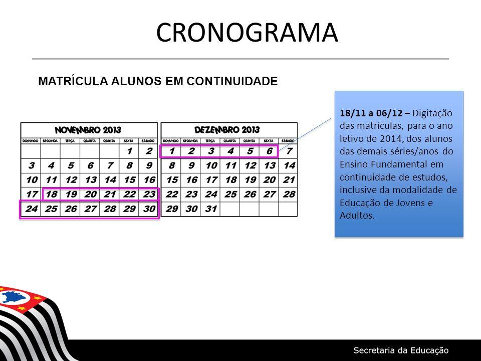 CRONOGRAMA MATRÍCULA ALUNOS EM CONTINUIDADE
