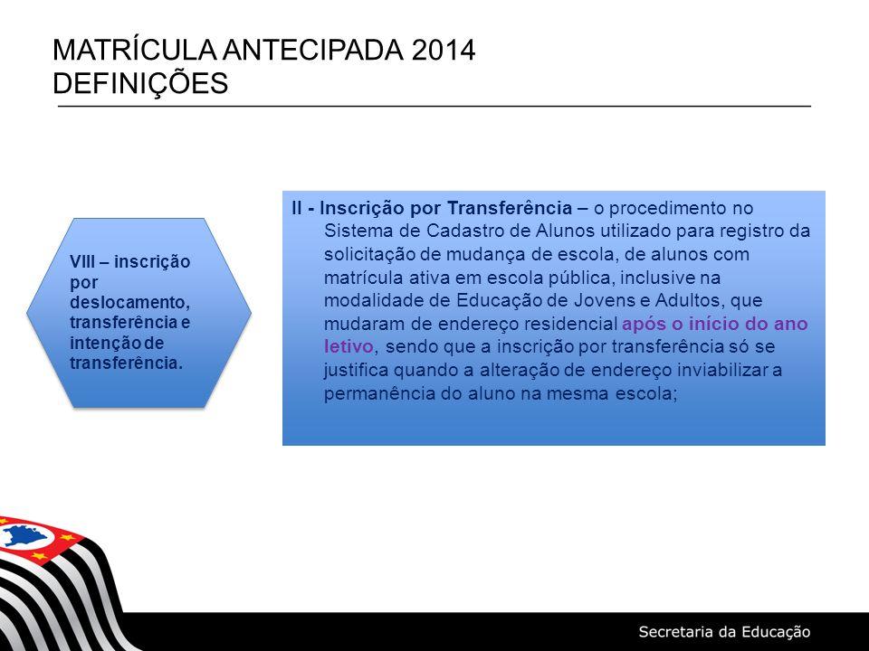 MATRÍCULA ANTECIPADA 2014 DEFINIÇÕES