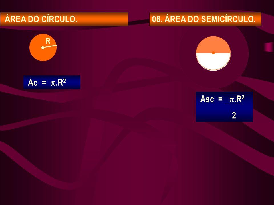 ÁREA DO CÍRCULO. 08. ÁREA DO SEMICÍRCULO. • • R Ac = .R2 Asc = .R2 2