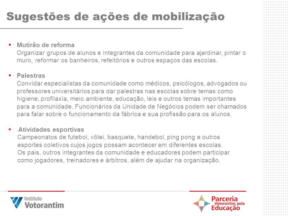 Sugestões de ações de mobilização