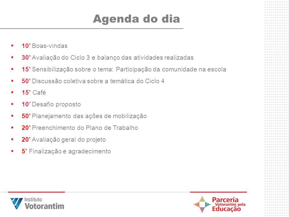 Agenda do dia 10' Boas-vindas