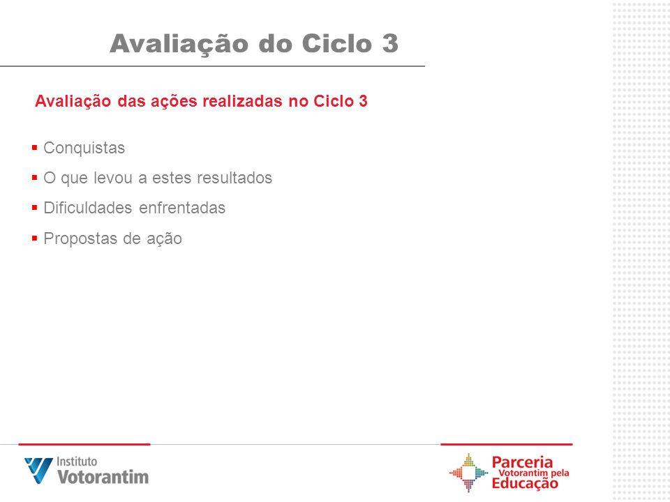 Avaliação do Ciclo 3 Avaliação das ações realizadas no Ciclo 3