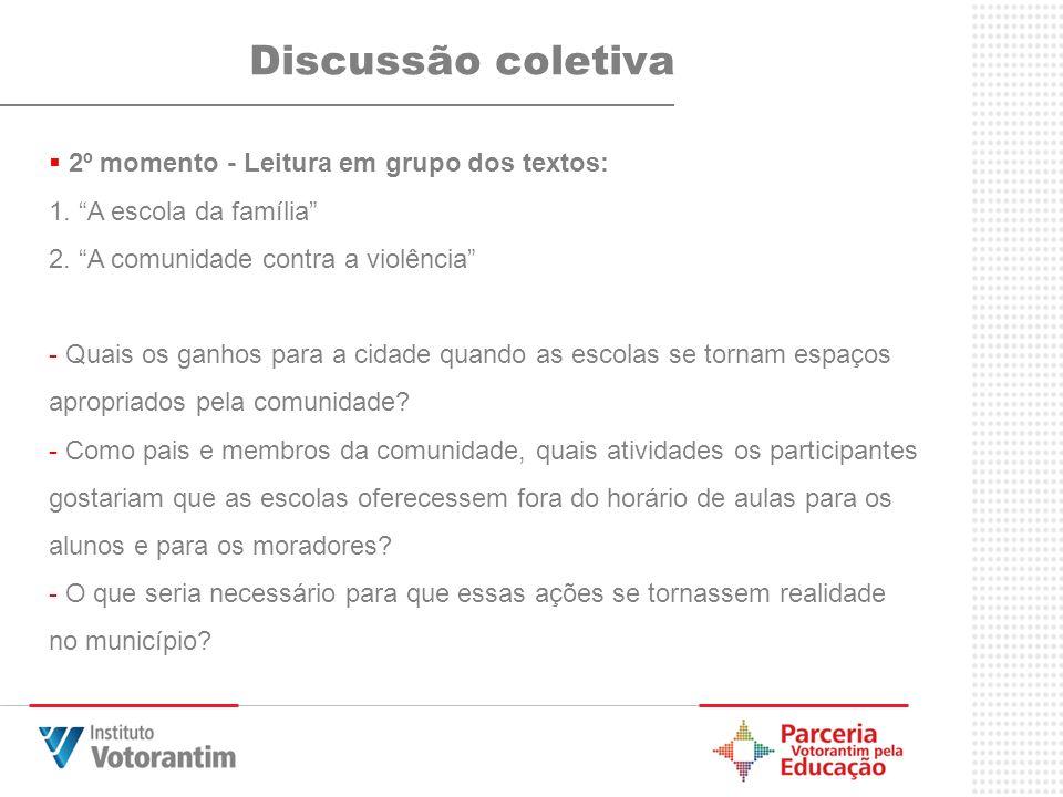Discussão coletiva 2º momento - Leitura em grupo dos textos: