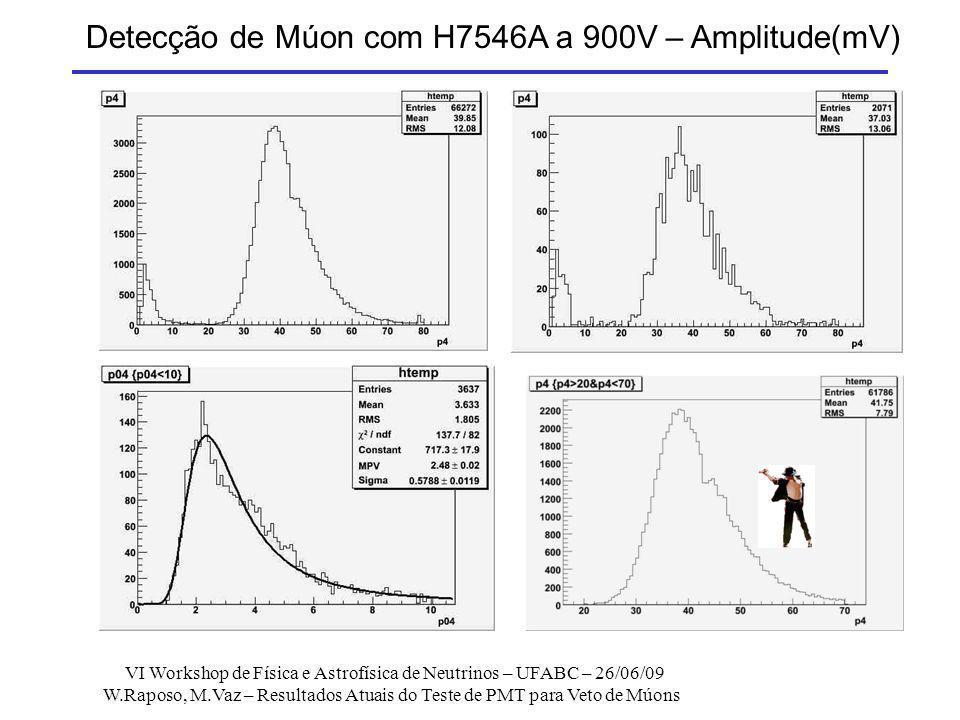 Detecção de Múon com H7546A a 900V – Amplitude(mV)