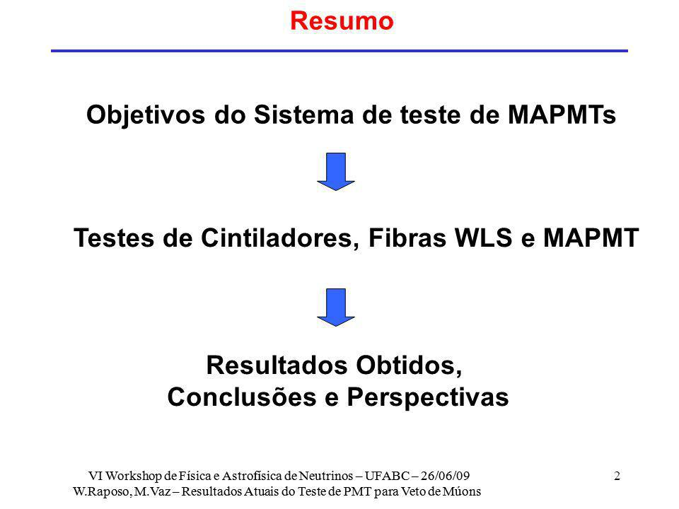 Testes de Cintiladores, Fibras WLS e MAPMT Conclusões e Perspectivas