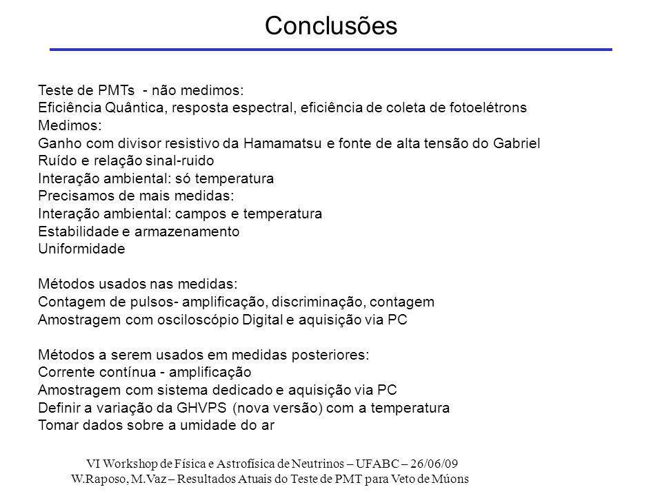 Conclusões Teste de PMTs - não medimos: