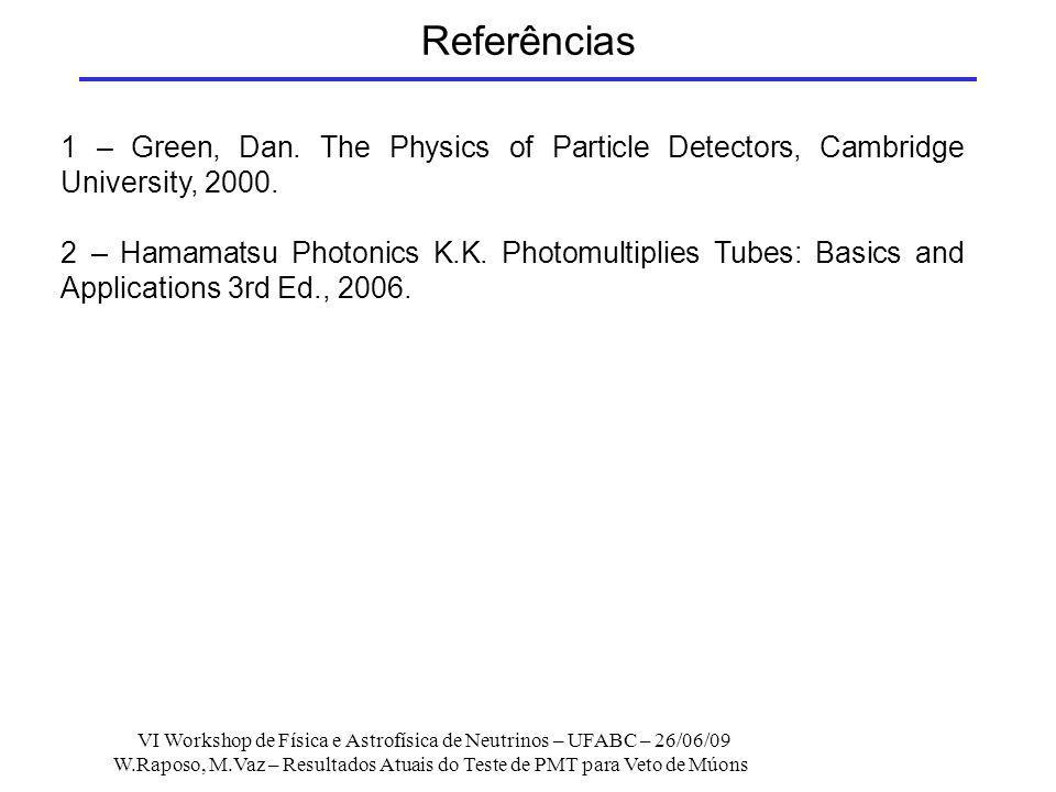 Referências 1 – Green, Dan. The Physics of Particle Detectors, Cambridge University, 2000.