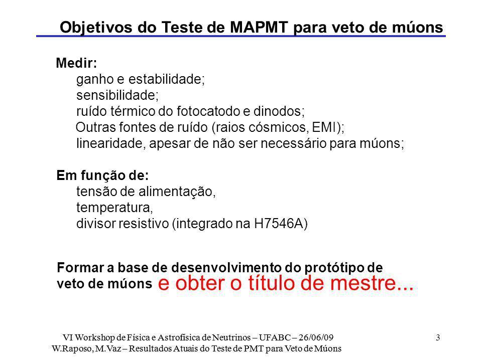 Objetivos do Teste de MAPMT para veto de múons