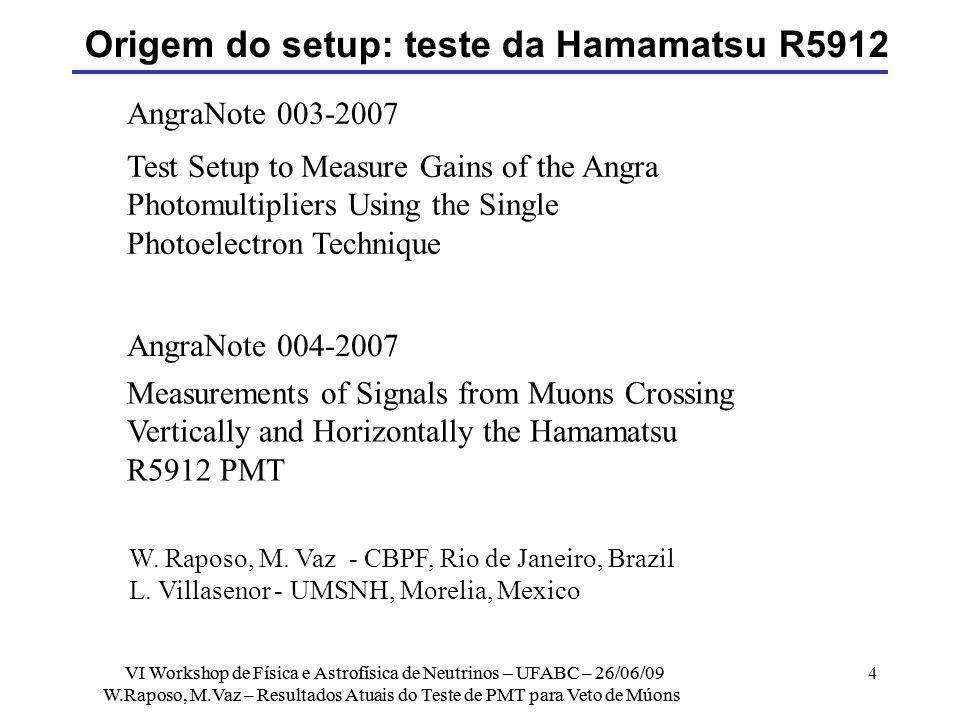Origem do setup: teste da Hamamatsu R5912