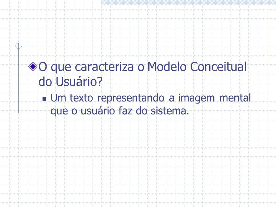 O que caracteriza o Modelo Conceitual do Usuário