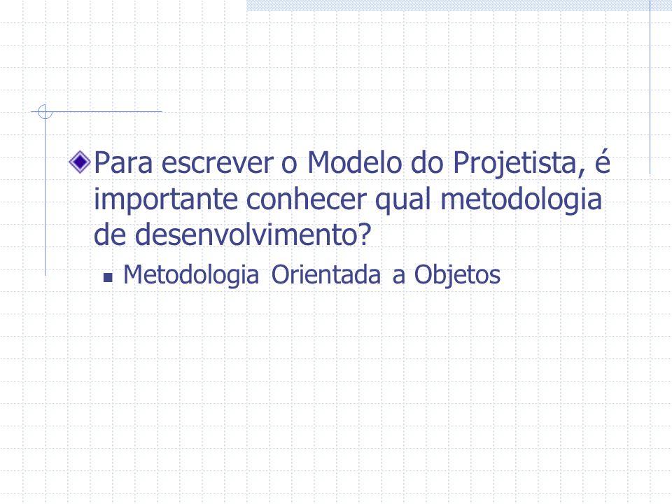 Para escrever o Modelo do Projetista, é importante conhecer qual metodologia de desenvolvimento