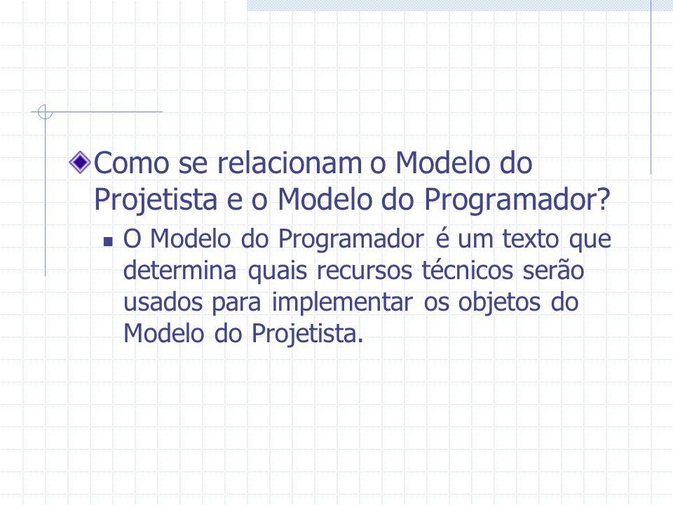Como se relacionam o Modelo do Projetista e o Modelo do Programador