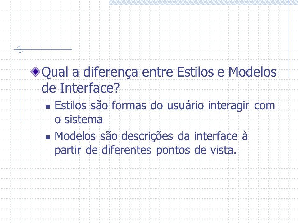 Qual a diferença entre Estilos e Modelos de Interface