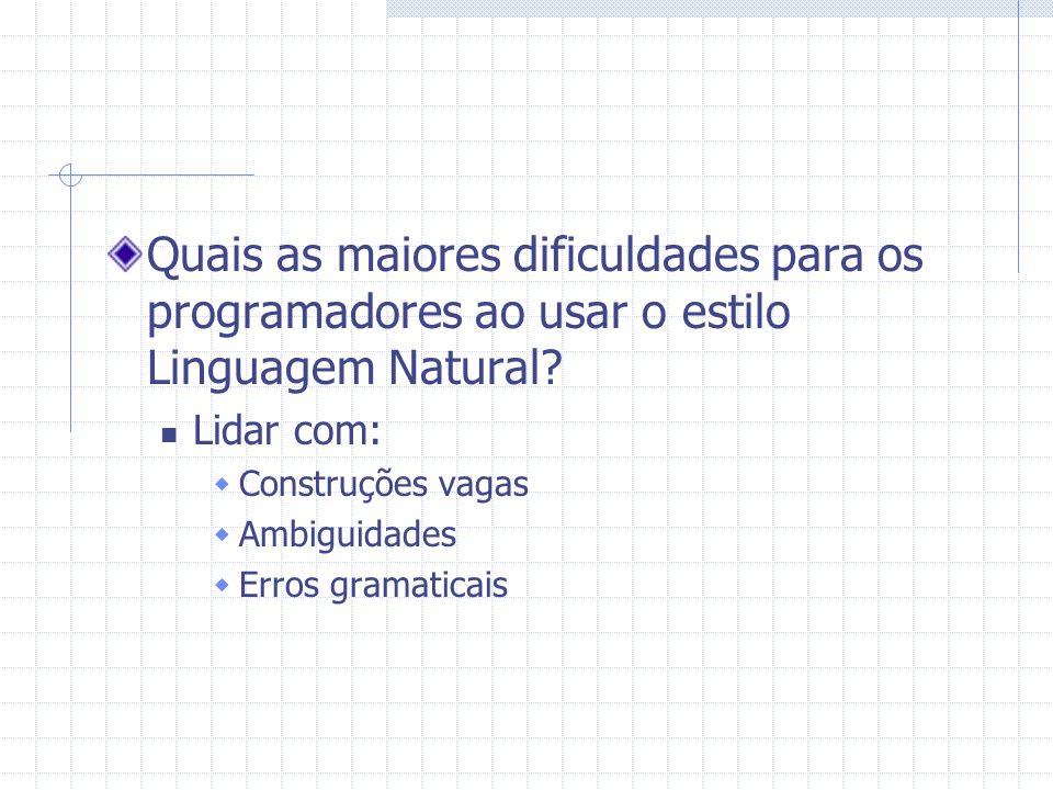 Quais as maiores dificuldades para os programadores ao usar o estilo Linguagem Natural