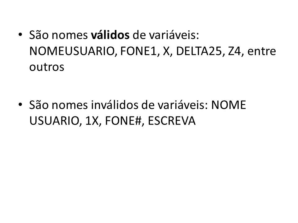 São nomes válidos de variáveis: NOMEUSUARIO, FONE1, X, DELTA25, Z4, entre outros