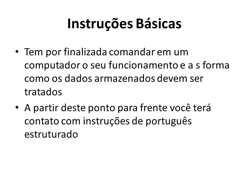 Instruções Básicas Tem por finalizada comandar em um computador o seu funcionamento e a s forma como os dados armazenados devem ser tratados.
