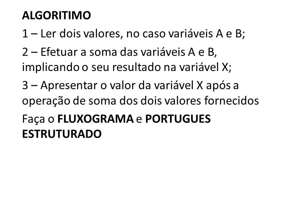 ALGORITIMO 1 – Ler dois valores, no caso variáveis A e B; 2 – Efetuar a soma das variáveis A e B, implicando o seu resultado na variável X; 3 – Apresentar o valor da variável X após a operação de soma dos dois valores fornecidos Faça o FLUXOGRAMA e PORTUGUES ESTRUTURADO