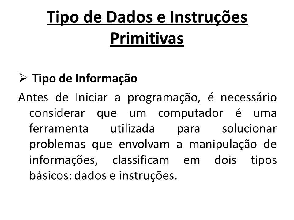 Tipo de Dados e Instruções Primitivas