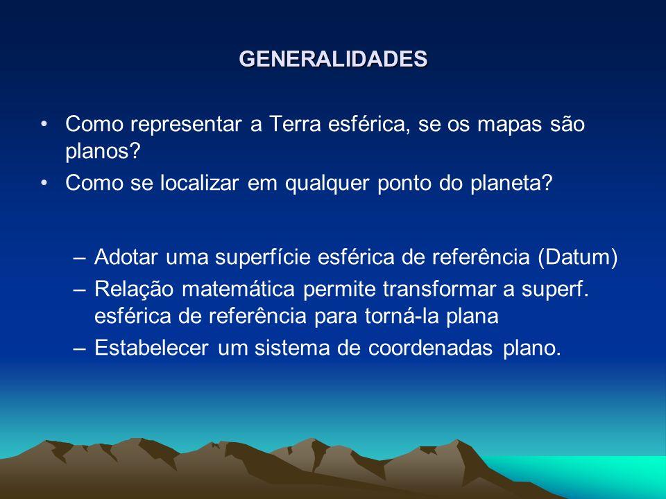 GENERALIDADES Como representar a Terra esférica, se os mapas são planos Como se localizar em qualquer ponto do planeta