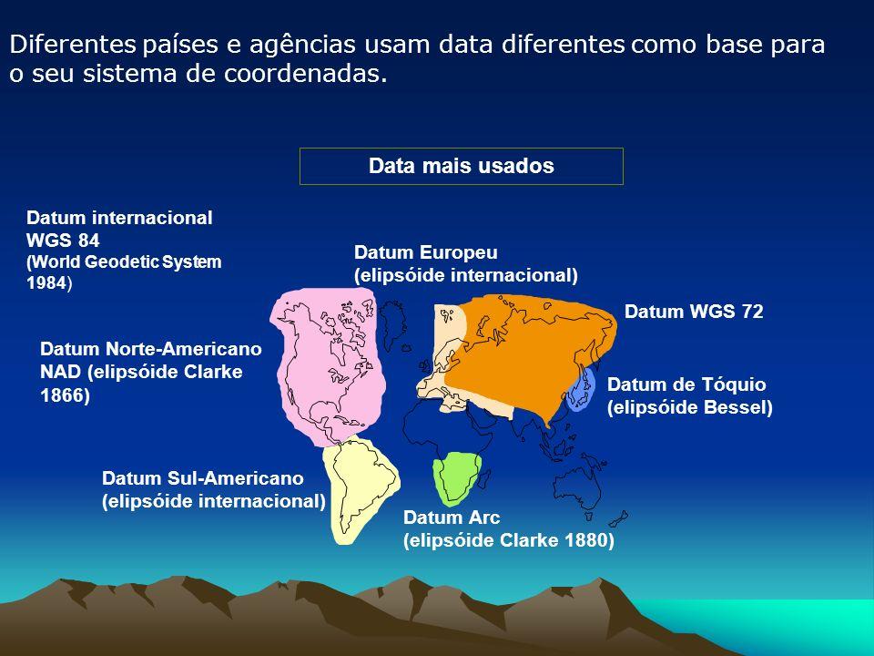 Diferentes países e agências usam data diferentes como base para o seu sistema de coordenadas.