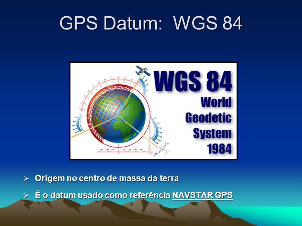 GPS Datum: WGS 84 Origem no centro de massa da terra