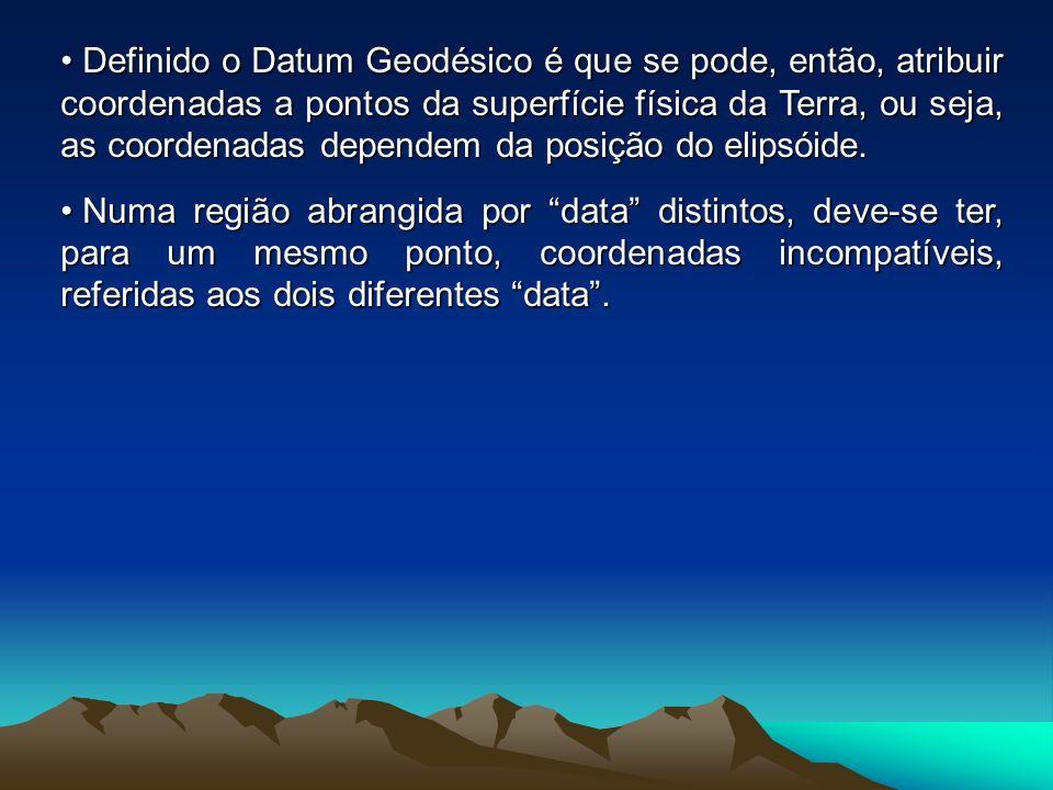 Definido o Datum Geodésico é que se pode, então, atribuir coordenadas a pontos da superfície física da Terra, ou seja, as coordenadas dependem da posição do elipsóide.