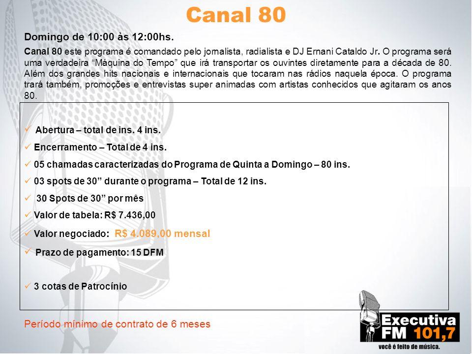 Canal 80 Domingo de 10:00 às 12:00hs. Abertura – total de ins. 4 ins.